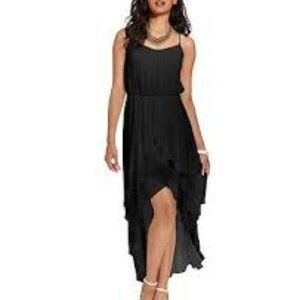 Black Maxi Dress  Tiered High Low Spanish Style